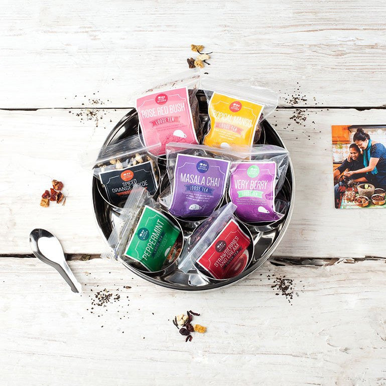 7 Loose Leaf Tea Gift Set Tin With Silk Sari Wrap and Tea Diffuser - Spice Kitchen™ - Spices, Spice Blends, Gifts & Cookware