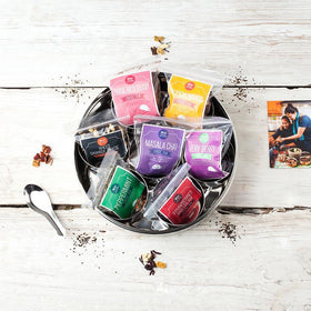 7 Loose Leaf Tea Gift Set Tin With Silk Sari Wrap and Tea Diffuser - Spice Kitchen - Spices, Spice Blends, Gifts & Cookware