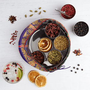 Gin Botanicals Tin with 7 Botanicals & Handmade Silk Sari Wrap - Spice Kitchen™ - Spices, Spice Blends, Gifts & Cookware