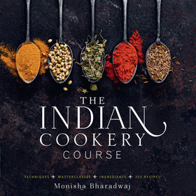 Monisha Bharadwaj 'The Indian Cookery Course ' Signed Copy & Spice Tin, 10 Spices & Handmade Silk Sari Wrap - Spice Kitchen - Spices, Spice Blends, Gifts & Cookware