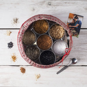 Halen Môn Flavoured Sea Salts Collection with 7 Flavoured Salts & Handmade Silk Sari Wrap // 6 Units Wholesale (£19.50 each) - Spice Kitchen - Spices, Spice Blends, Gifts & Cookware