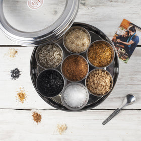 Halen Môn Flavoured Sea Salts Collection with 7 Flavoured Salts & and Stainless Steel Storage Tin - Spice Kitchen - Spices, Spice Blends, Gifts & Cookware