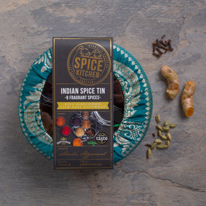 Indian Spice Tin with 9 spices & Handmade Silk Sari Wrap | Gift of the Year Winner - Spice Kitchen - Spices, Spice Blends, Gifts & Cookware