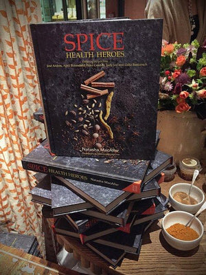 Spice Health Heroes by Natasha MacAller (Signed Copy) & Indian Spice Tin, 9 Spices & Handmade Silk Sari Wrap - Spice Kitchen - Spices, Spice Blends, Gifts & Cookware