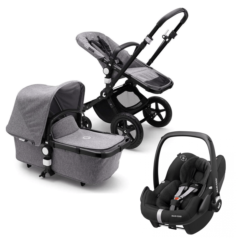 Bugaboo Cameleon 3 Plus Complete Pebble Pro Travel System Black/Grey Melange Travel Systems
