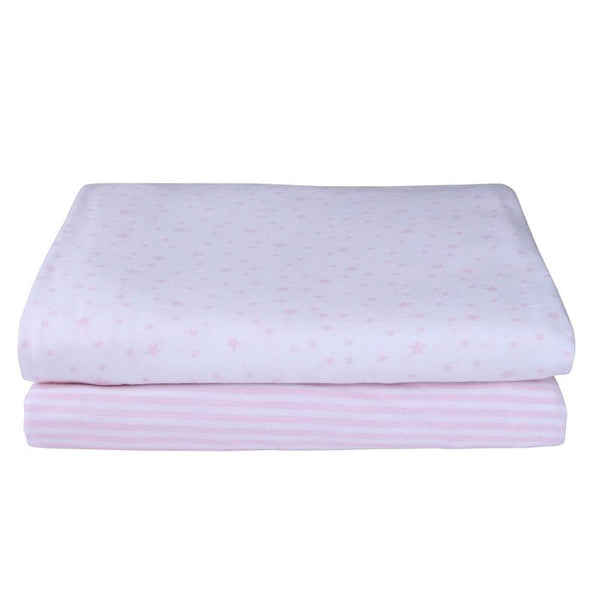 Clair de Lune Fitted Cotbed Printed Sheet 2 Pack Pink Cot & Cot Bed Sheets CL5670PK 5033775327800