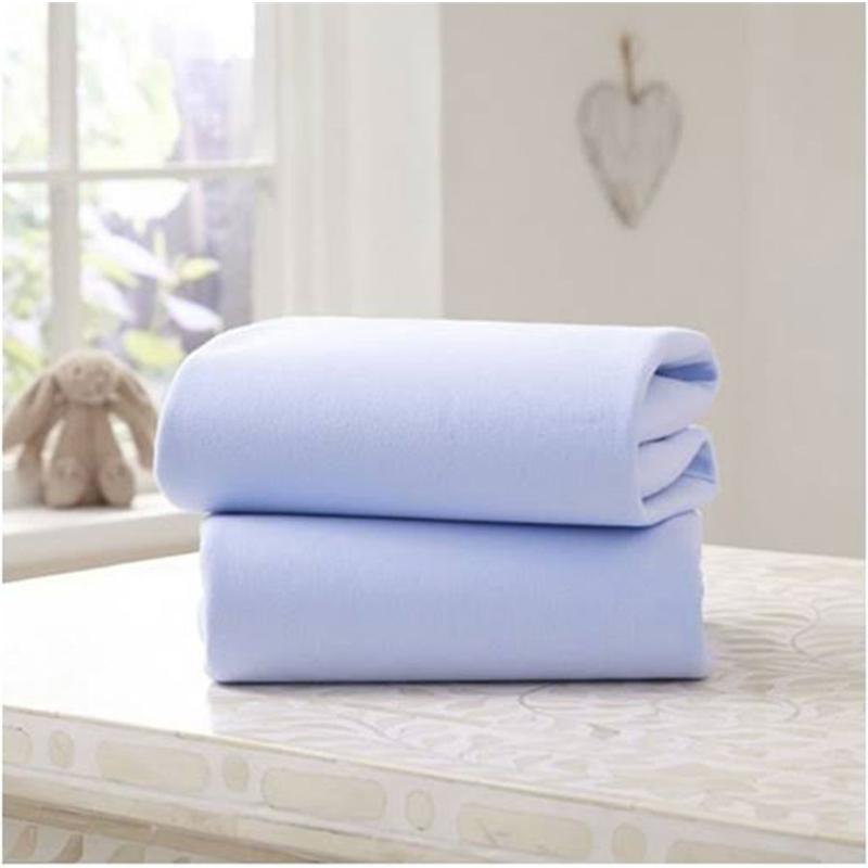 Clair De Lune Moses Fitted Sheet 2 Pack Blue Pram & Moses Sheets CL3503B 5033775088404