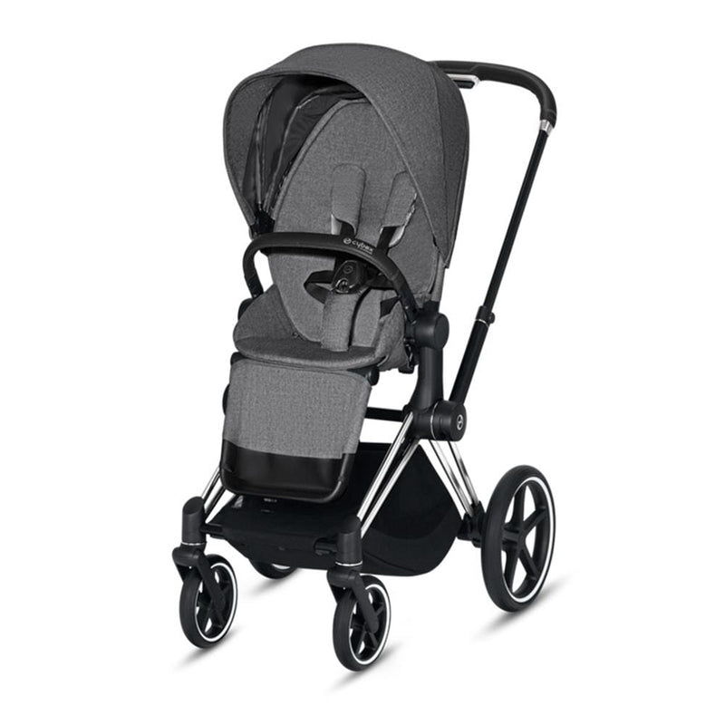 Cybex Priam & Lux Cot Chrome/Black/Manhattan Grey Plus Pushchairs & Buggies t7pxhsx 4058511706078