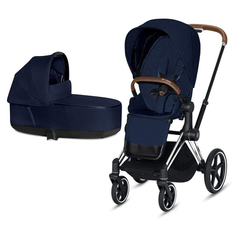 Cybex Priam & Lux Cot Chrome/Brown/Midnight Blue Plus Pushchairs & Buggies td69rmo 4058511577432