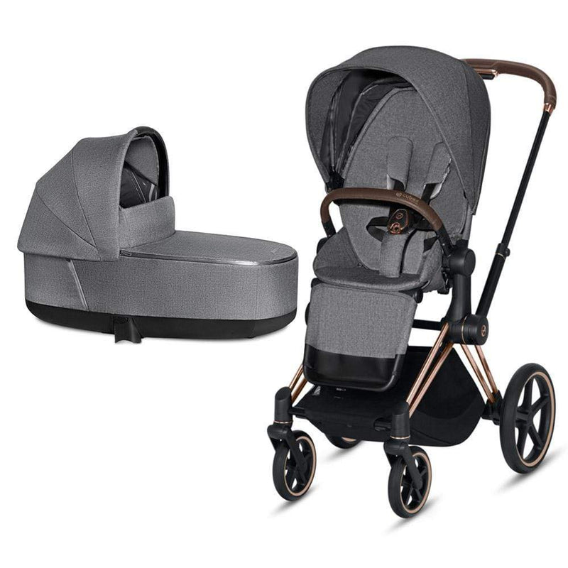 Cybex Priam & Lux Cot Rose Gold/Manhattan Grey Plus Baby Prams z8xbshq 4058511577593