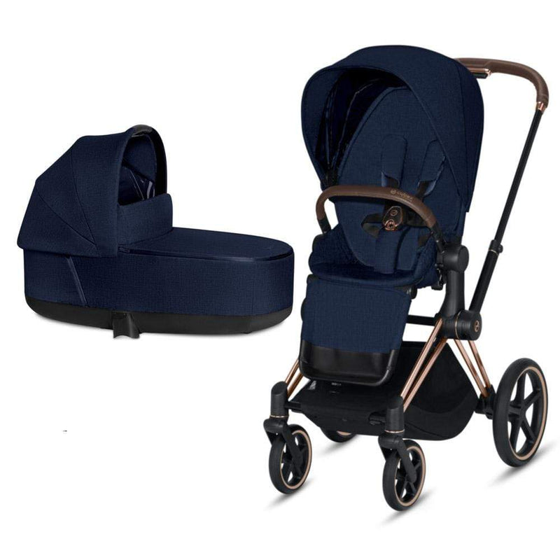 Cybex Priam & Lux Cot Rose Gold/Midnight Blue Plus Baby Prams 8dh8nhx 4058511577593