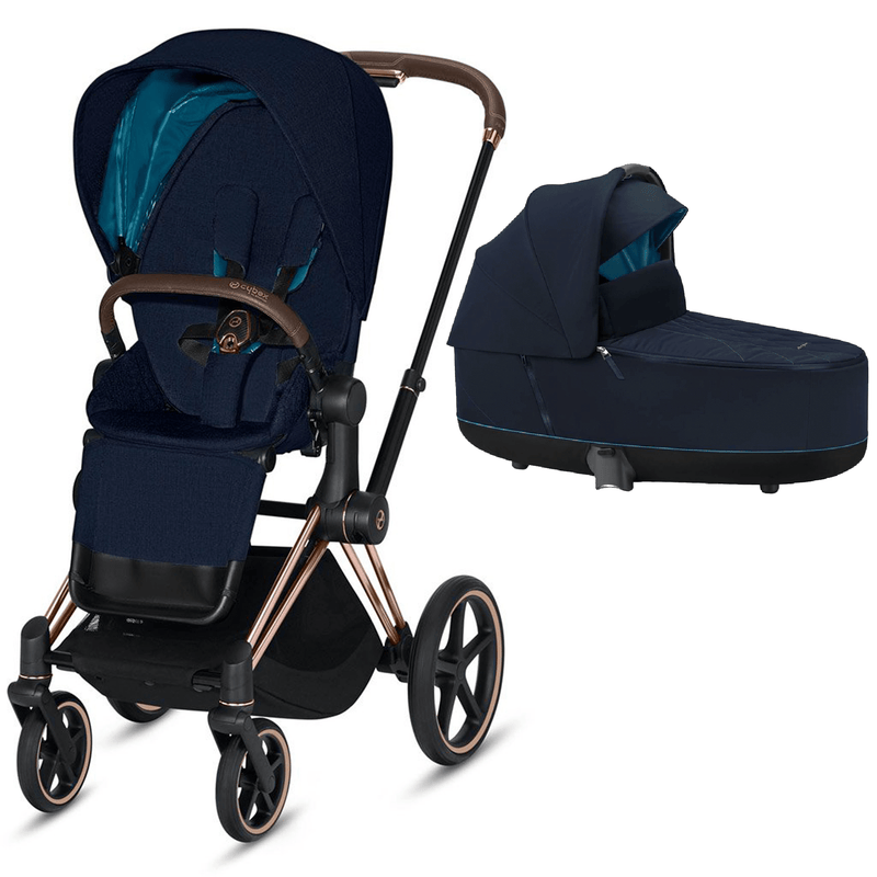 Cybex Priam & Lux Cot Rose Gold/Nautical Blue Baby Prams 6406-RG-NB 40585115775593