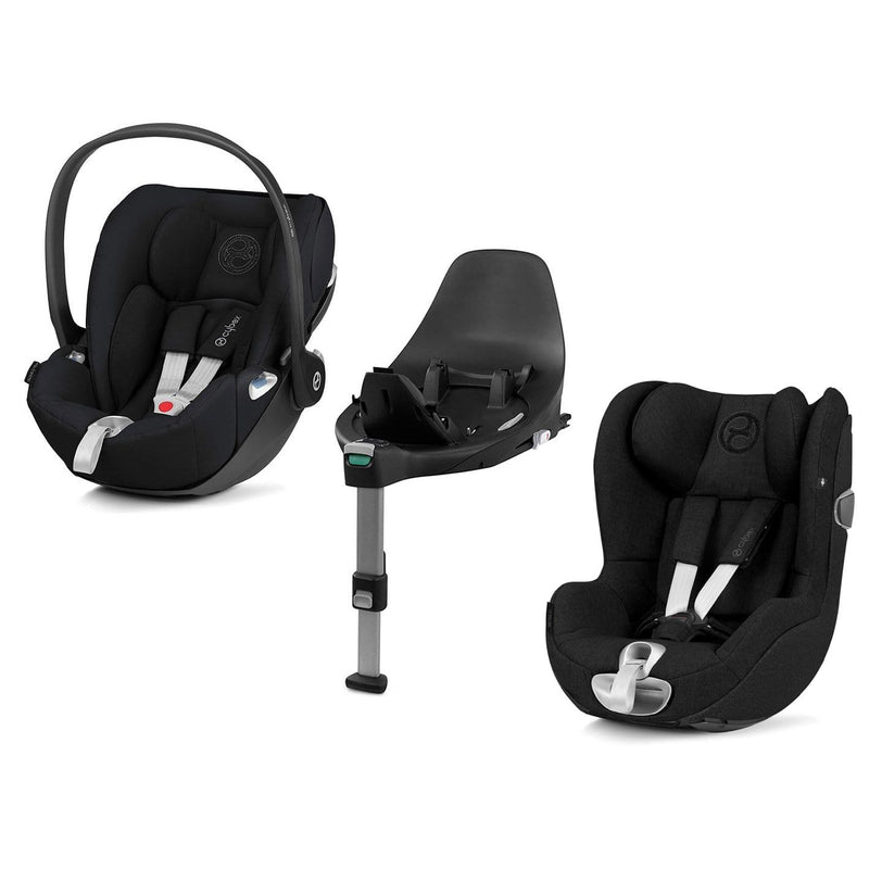 Cybex Cloud Z & Sirona Z Deep Black with Base Z Extended Rear Facing Car Seats Y3NW6F8 4058511800981
