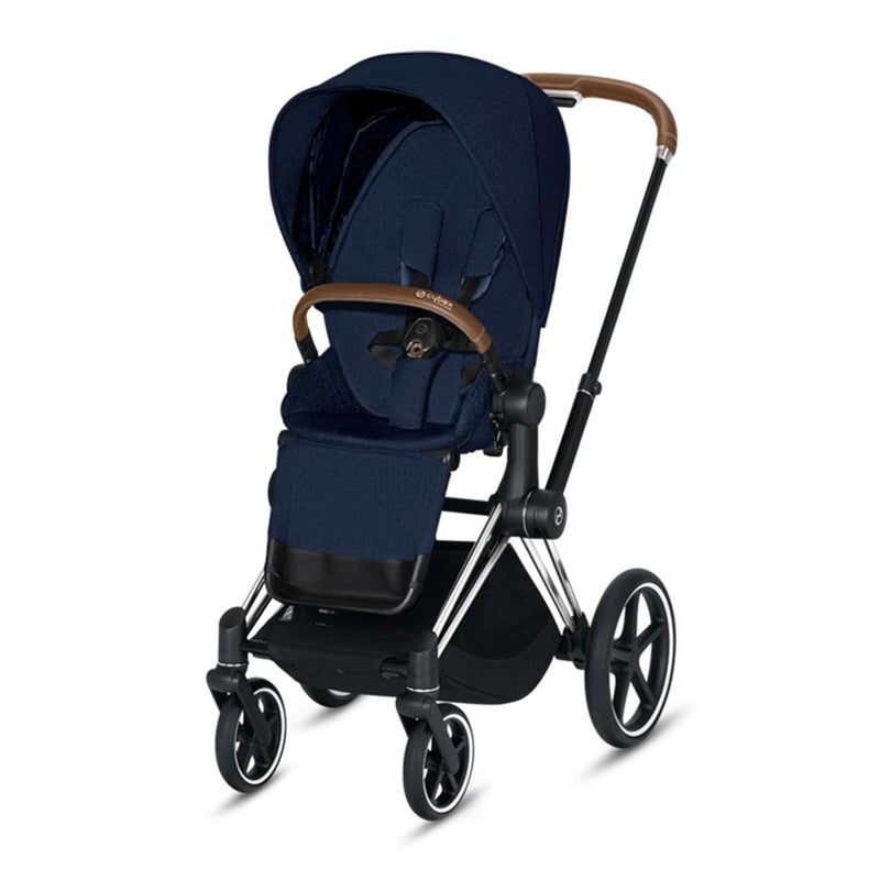 Cybex Priam Pushchair Chrome/Brown/Midnight Blue Plus Pushchairs & Buggies 8nh0797 4058511577432