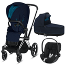 Cybex Priam 3 in 1 Travel System Chrome Black/Nautical Blue Travel Systems 6409-CH-BLK-NB 4058511706078