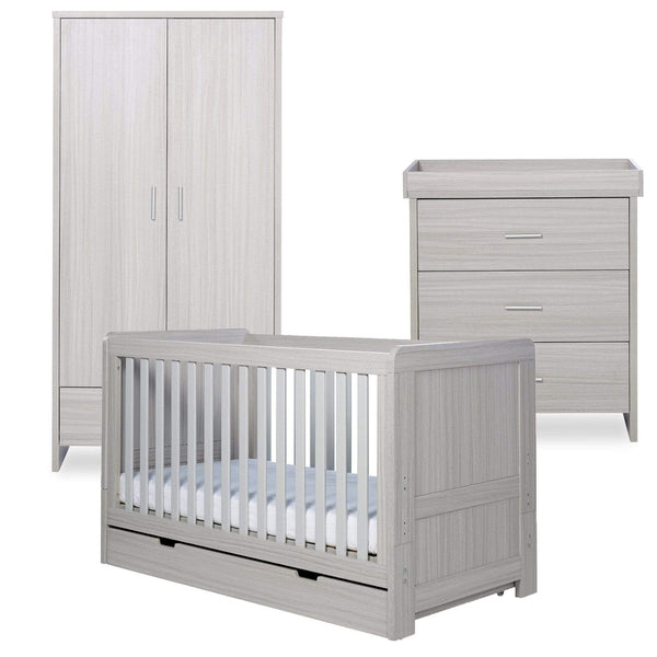 Ickle Bubba Pembrey 3 Piece Furniture Set and Under Drawer Ash Grey Cot Beds