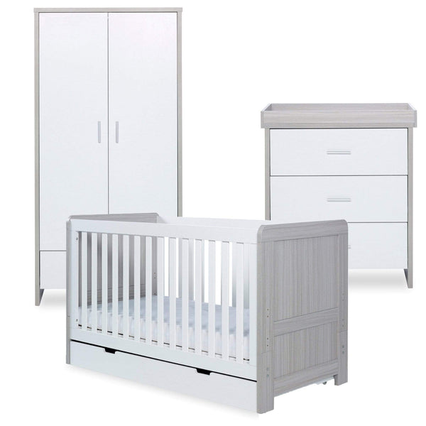 Ickle Bubba Pembrey 3 Piece Furniture Set and Under Drawer Ash Grey & White Cot Beds