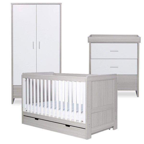 Ickle Bubba Pembrey 3 Piece Furniture Set and Under Drawer Ash Grey & White Trend Cot Beds