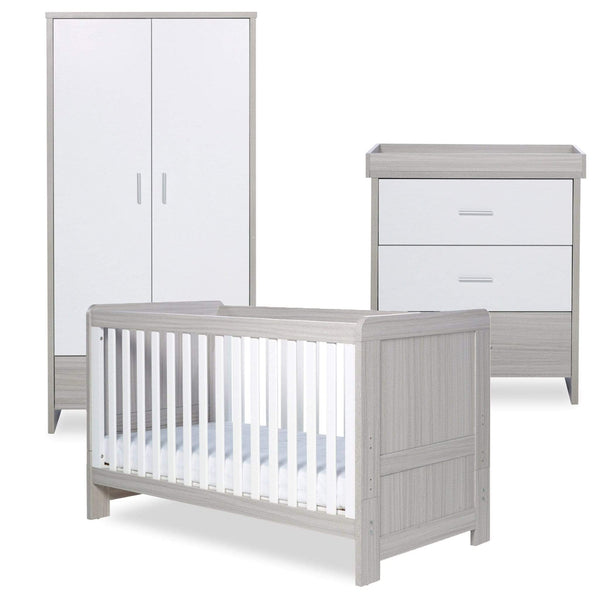 Ickle Bubba Pembrey 3 Piece Furniture Set Ash Grey & White Trend Cot Beds