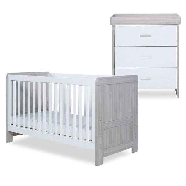 Ickle Bubba Pembrey Cot Bed and Changing Unit Ash Grey & White Cot Beds