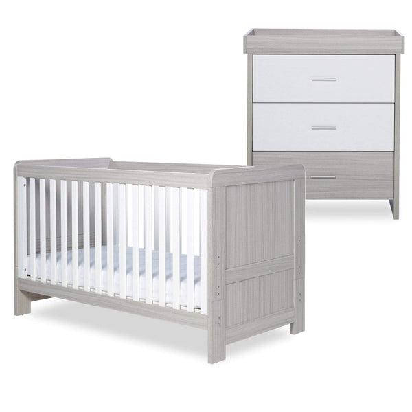 Ickle Bubba Pembrey Cot Bed and Changing Unit Ash Grey & White Trend Cot Beds