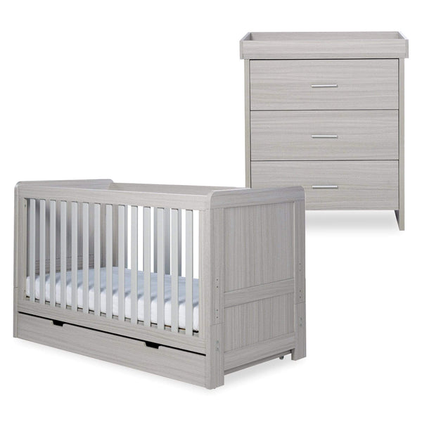 Ickle Bubba Pembrey Cot Bed, Under Drawer and Changing Unit Ash Grey Cot Beds
