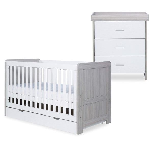 Ickle Bubba Pembrey Cot Bed, Under Drawer and Changing Unit Ash Grey & White Cot Beds