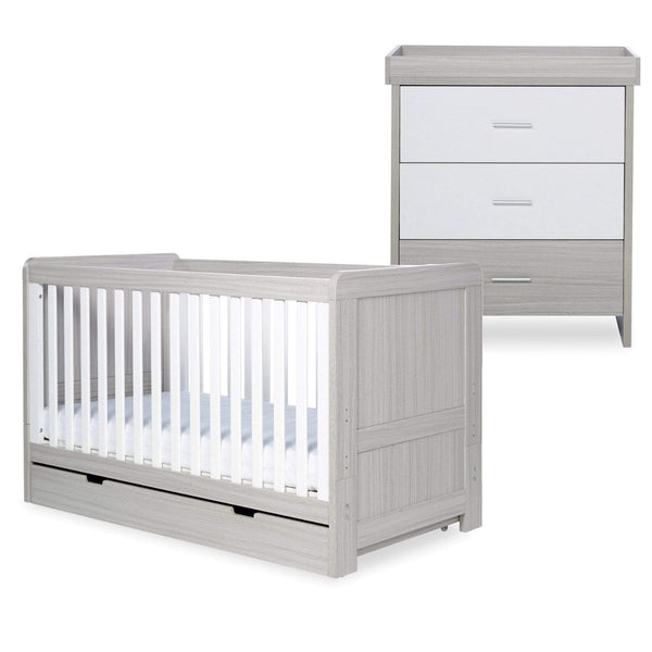 Ickle Bubba Pembrey Cot Bed, Under Drawer and Changing Unit Ash Grey & White Trend Cot Beds