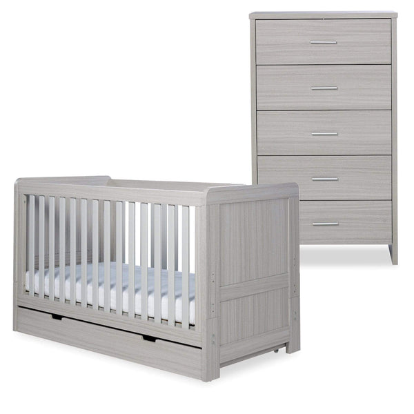 Ickle Bubba Pembrey Cot Bed, Under Drawer and Tall Chest Ash Grey Cot Beds