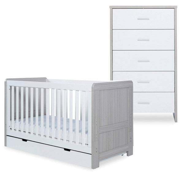 Ickle Bubba Pembrey Cot Bed, Under Drawer and Tall Chest Ash Grey & White Cot Beds