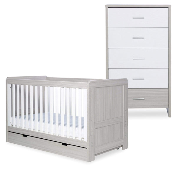 Ickle Bubba Pembrey Cot Bed, Under Drawer and Tall Chest Ash Grey & White Trend Cot Beds