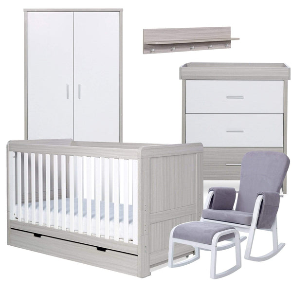 Ickle Bubba Pembrey 8 Piece Furniture Bundle Ash Grey & White Trend Nursery Room Sets 61-006-R8F-834 5060738078387