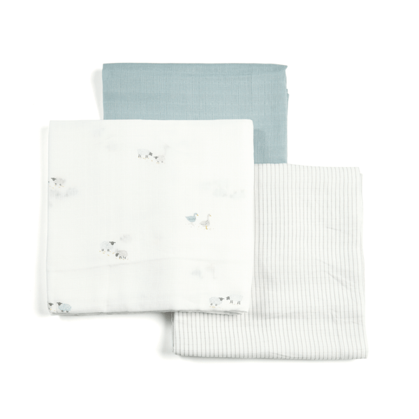 Mamas & Papas Welcome To The World 3pk Muslin Squares Large Farm Muslins & Swaddling 7233WW401 5057232514602