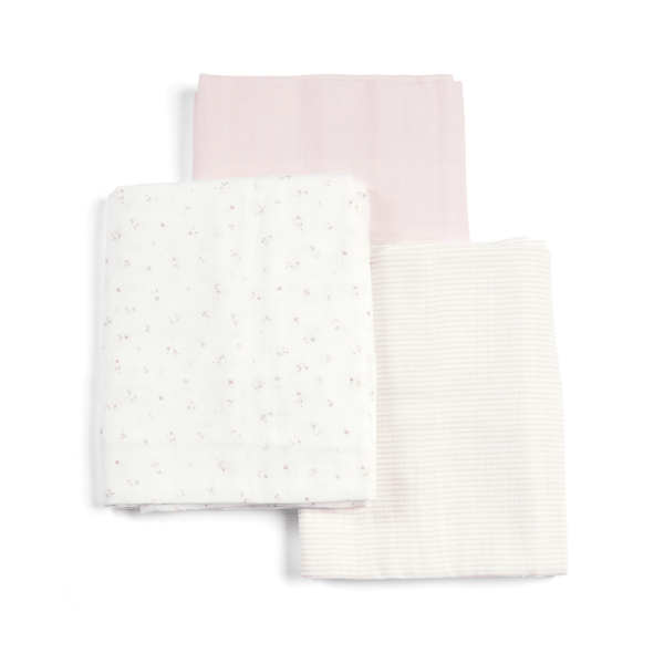 Mamas & Papas Welcome To The World 3pk Muslin Squares Large Floral Muslins & Swaddling 7233WW301 5057232514565