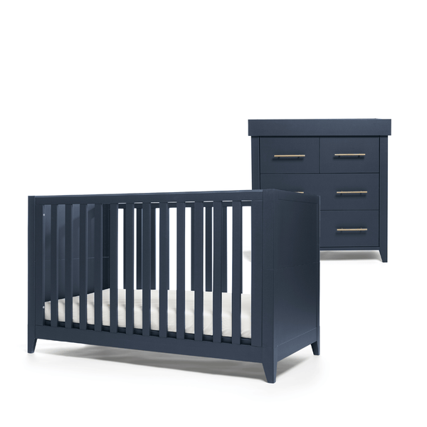 Mama & Papas Melfi 2 Piece Cotbed Roomset Midnight Blue Nursery Room Sets SEMLMB100 5057232419662