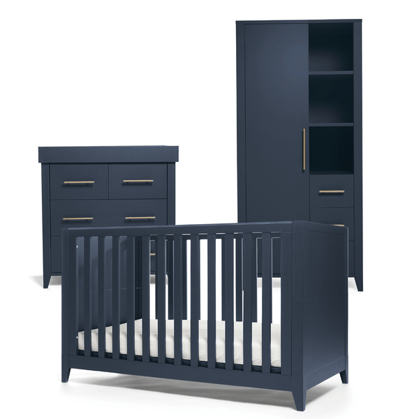 Mama & Papas Melfi 3 Piece Cotbed Range Midnight Blue Nursery Room Sets RMMLMB100 5057232419631