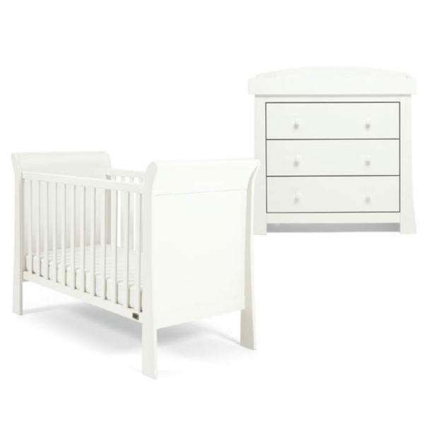 Mama & Papas Mia Sleigh 2 Piece Cot Roomset White Nursery Room Sets STMS02W00 5057232470502