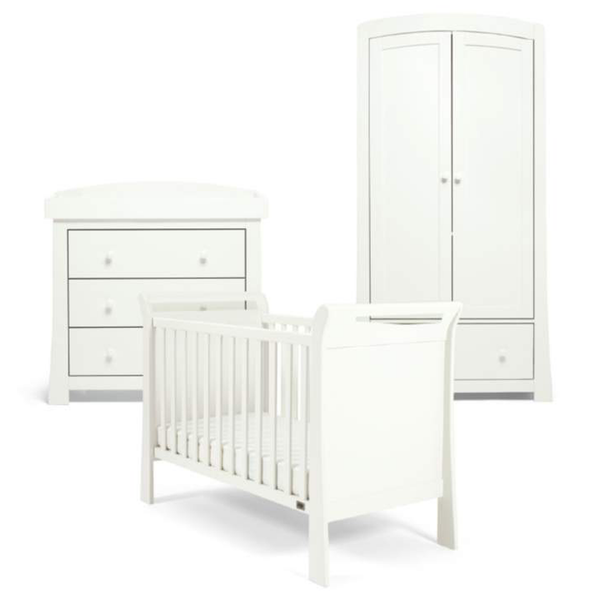 Mama & Papas Mia Sleigh 3 Piece Cot Range White Nursery Room Sets RCMS02W00 5057232470465