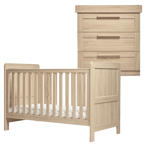Mamas & Papas Atlas 2 Piece Cotbed Roomset Light Oak Nursery Room Sets SEATR0500 5057232412113