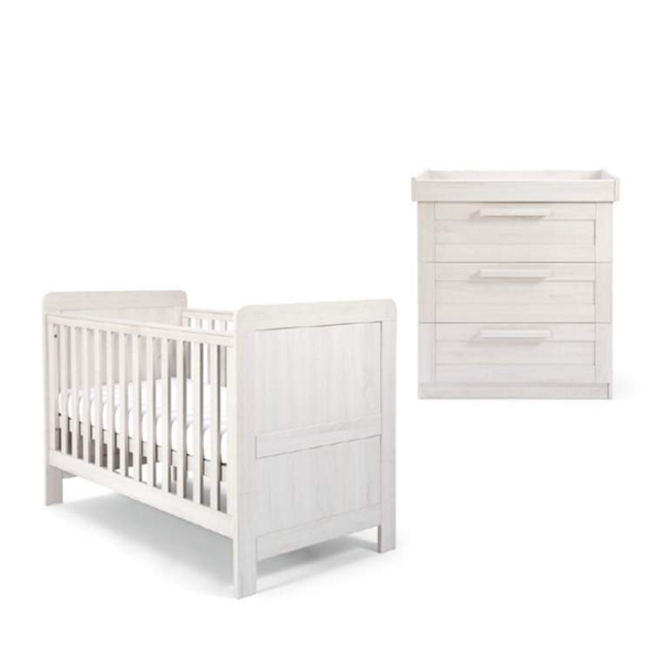 Mamas & Papas Atlas 2 Piece Cotbed Roomset Nimbus White Nursery Room Sets SEATAY602 5057232331384