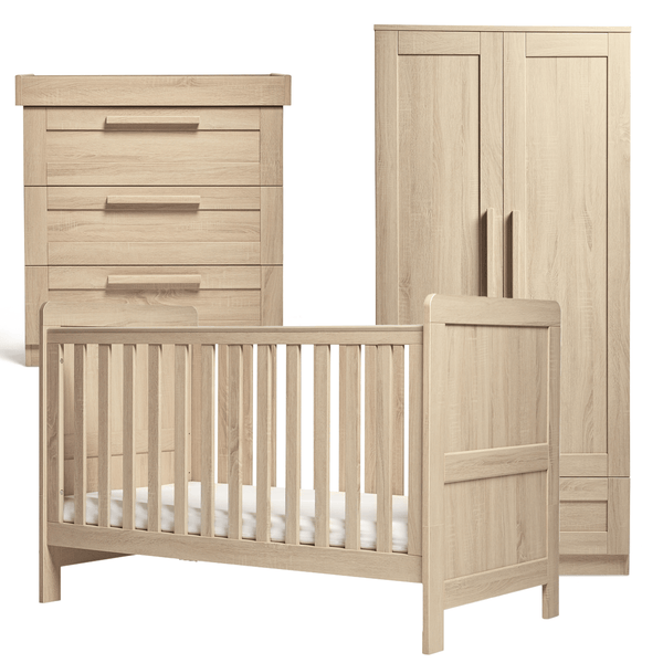 Mamas & Papas Atlas 3 Piece Cotbed Range Light Oak Nursery Room Sets RAATR0500 5057232412052