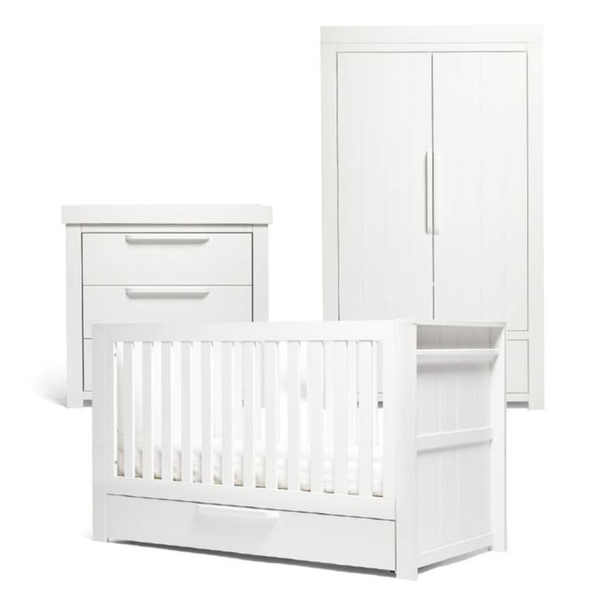 Mamas & Papas Franklin 3 Piece Cotbed Range White Wash Nursery Room Sets RAFRWW100 5057232187561
