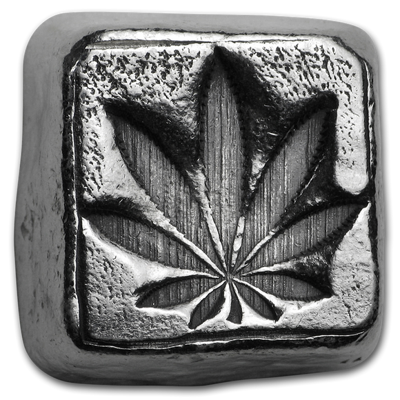 1oz Poured Silver Bar - Cannabis