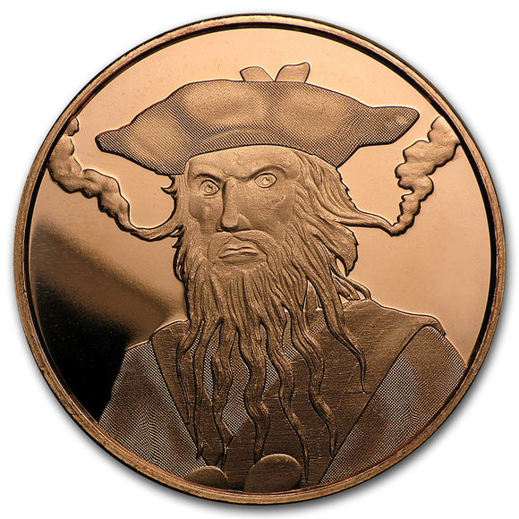 1 oz Copper Round - Blackbeard (Anonymous Mint)