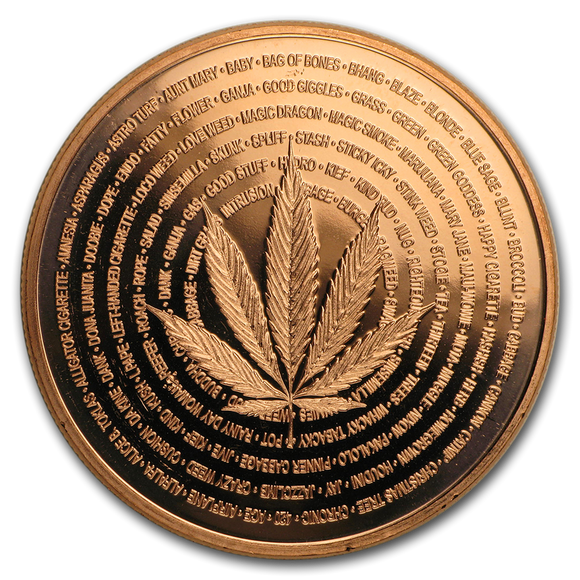 1 oz Copper Round - Cannabis (Medicine)