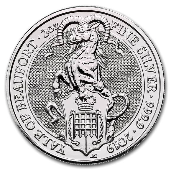 2019 Queens Beasts - The Yale of Beaufort 2oz Silver Bullion Coin