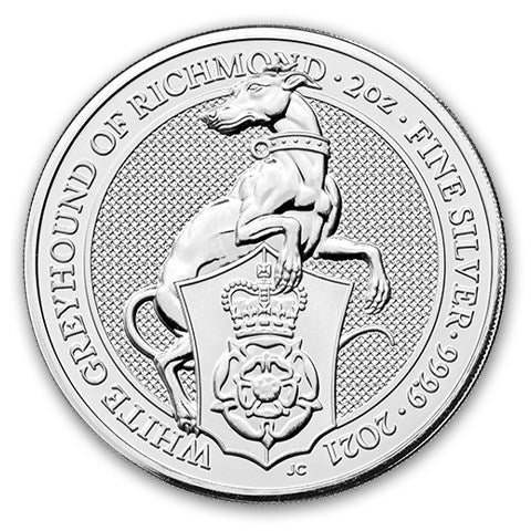 2021 Queens Beast - The White Greyhound 2oz Silver Bullion Coin