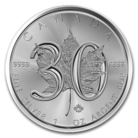 1988-2018 30th Edition Maple 1oz Silver Bullion Coin