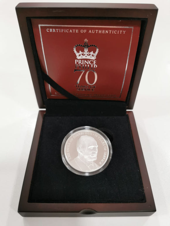 Prince Philip 70 Years of Service Silver Five Pound Proof Coin