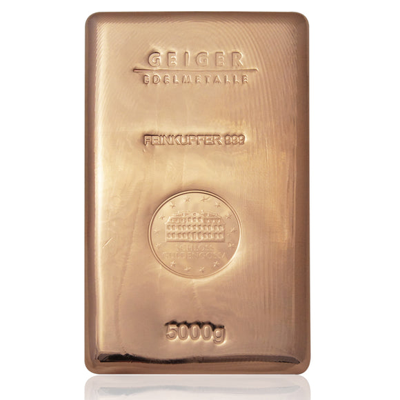 5kg (5000g) .999 Pure Copper Bullion Bar
